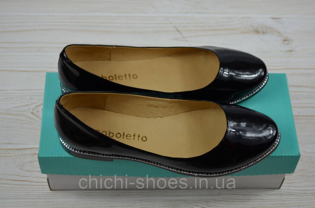 Балетки женские Arcoboletto 221-0202-30 чёрные кожа-лак