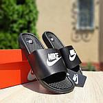 Мужские летние массажные шлепанцы Nike (черно-белые) 40034, фото 4