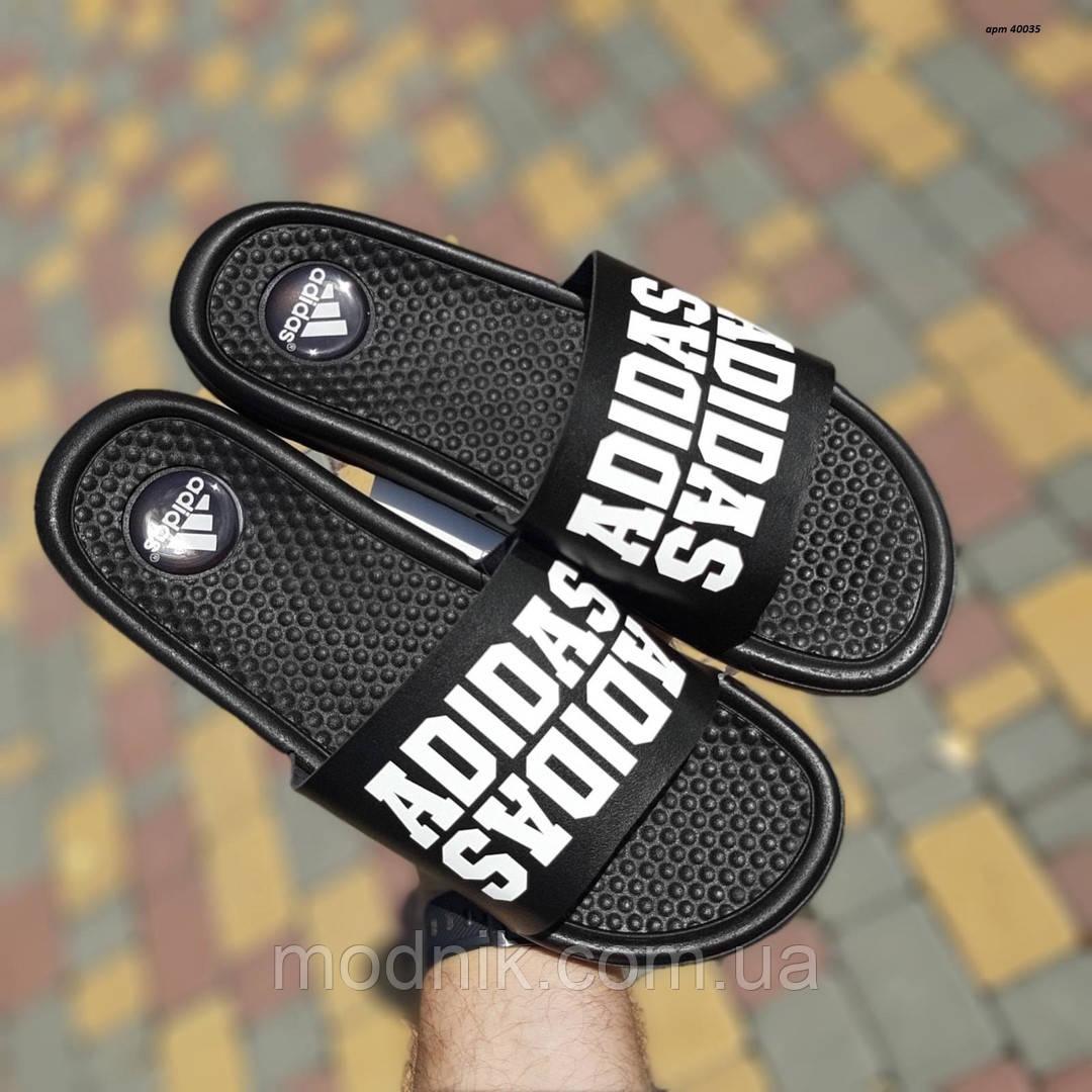Мужские летние массажные шлепанцы Adidas (черные) 40035