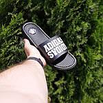 Мужские летние массажные шлепанцы Adidas (черные) 40035, фото 2