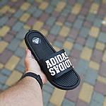 Мужские летние массажные шлепанцы Adidas (черные) 40035, фото 3