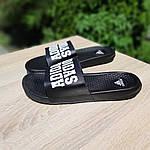Мужские летние массажные шлепанцы Adidas (черные) 40035, фото 5