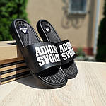 Мужские летние массажные шлепанцы Adidas (черные) 40035, фото 7