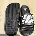 Мужские летние массажные шлепанцы Adidas (черные) 40035, фото 8