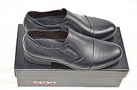 Туфли мужские Ikos 2243-1 чёрные кожа на резинках, фото 1