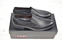 Туфли мужские Ikos 3298-1 чёрные кожа на резинках, фото 1
