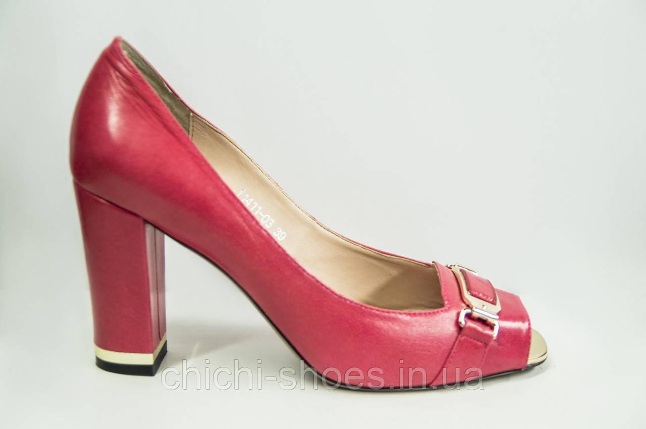 Туфли женские Blizarrini 1411-03 красные кожа каблук с открытым носком