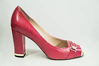 Туфли женские Blizarrini 1411-03 красные кожа каблук с открытым носком, фото 1