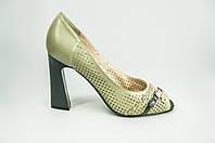 Туфли женские Nadi Bella 1305-12 оливковые кожа каблук