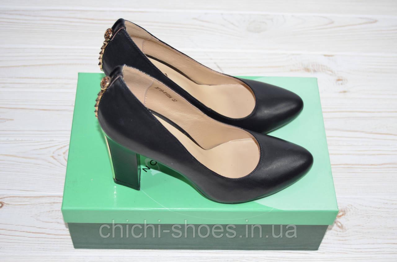 Туфли женские Flona 619-103A чёрные кожа каблук