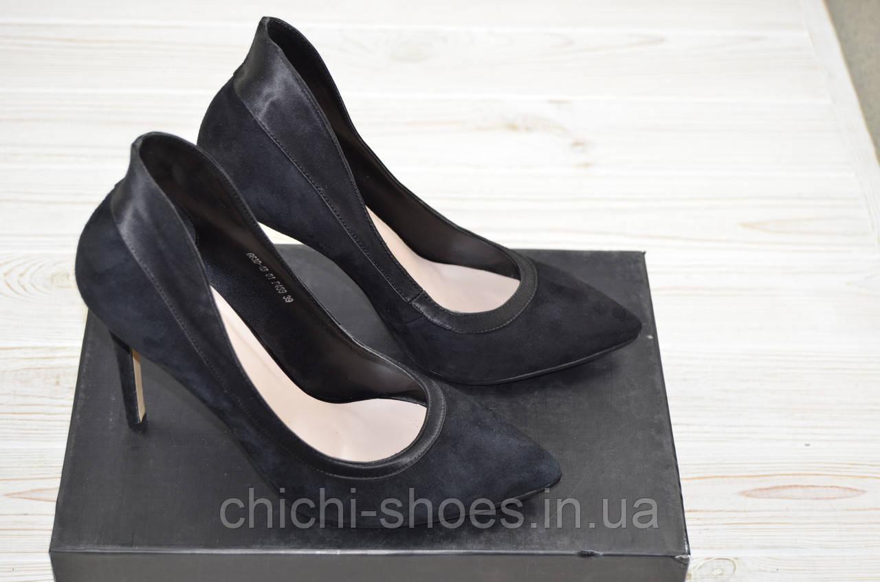 Туфли женские Glassi 63-1-459 чёрные замша каблук-шпилька