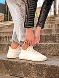 Женские кроссовки Adidas Yeezy Boost 350 в стиле адидас изи буст белые (Реплика ААА+), фото 6