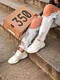Женские кроссовки Adidas Yeezy Boost 350 в стиле адидас изи буст белые (Реплика ААА+), фото 7