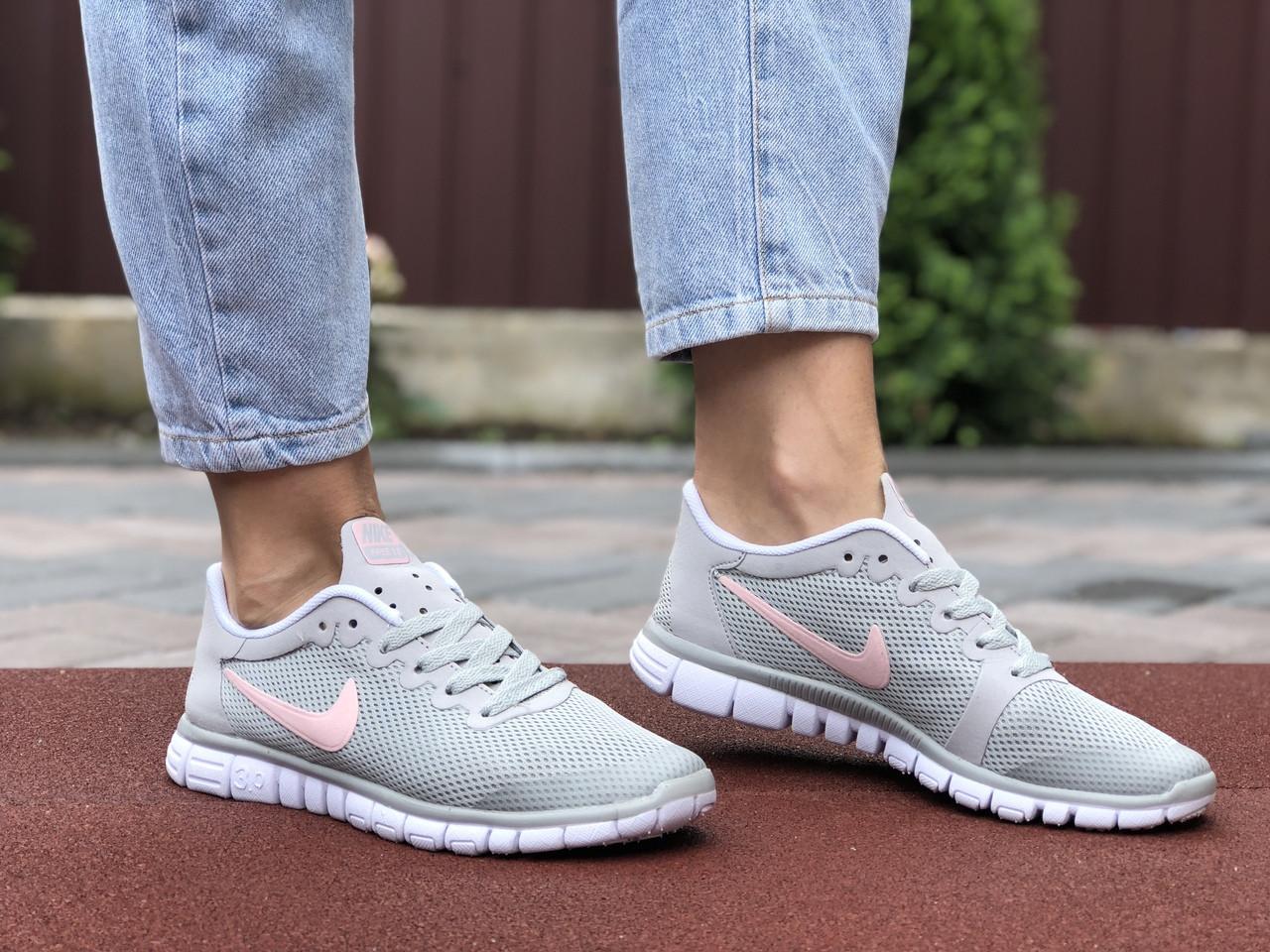 Женские кроссовки Nike Free Run 3.0 (светло-серые с розовым) 9540