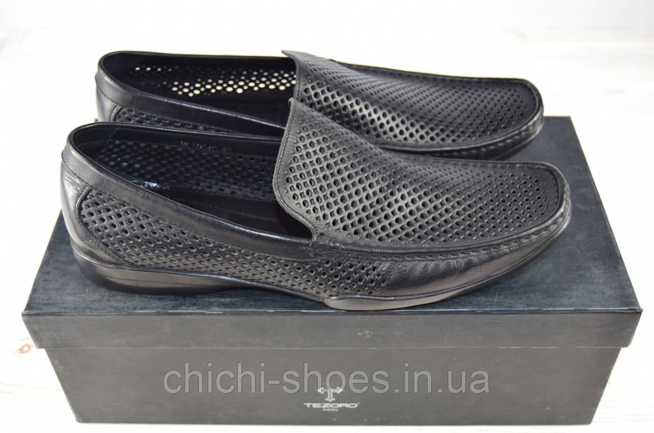 Туфли-мокасины мужские Tezoro 10049 чёрные кожа (последний 40 размер)