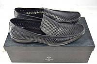 Туфли-мокасины мужские Tezoro 10049 чёрные кожа (последний 40 размер), фото 1
