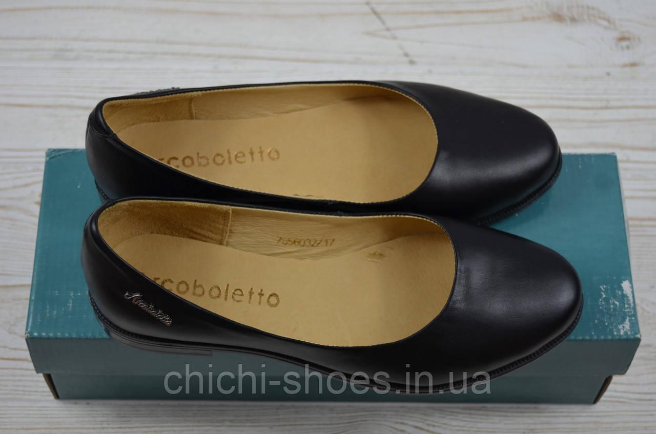 Балетки женские Arcoboletto 21-0202-31 чёрные кожа