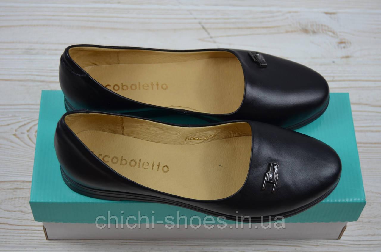 Балетки женские Arcoboletto 21-0204-42 чёрные кожа