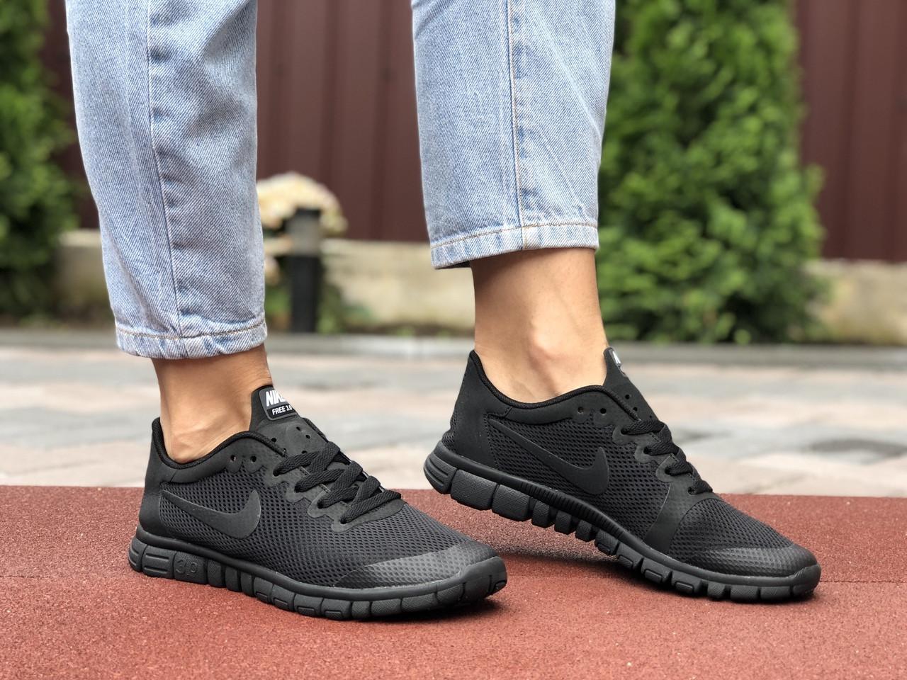 Женские кроссовки Nike Free Run 3.0 (черные) 9542