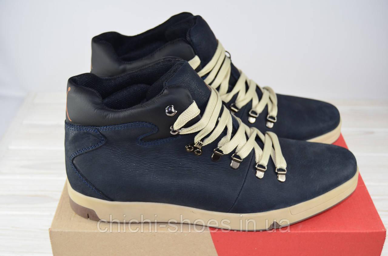 Ботинки мужские зимние KONORS 7017-048-46 синие кожа на шнурках