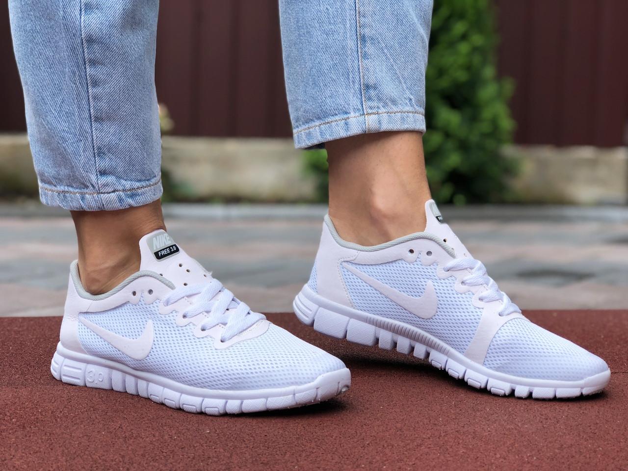 Женские кроссовки Nike Free Run 3.0 (белые) 9545