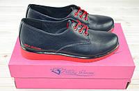 Туфли женские Nika Veroni 43-2 чёрные кожа низкий ход на шнурке, фото 1