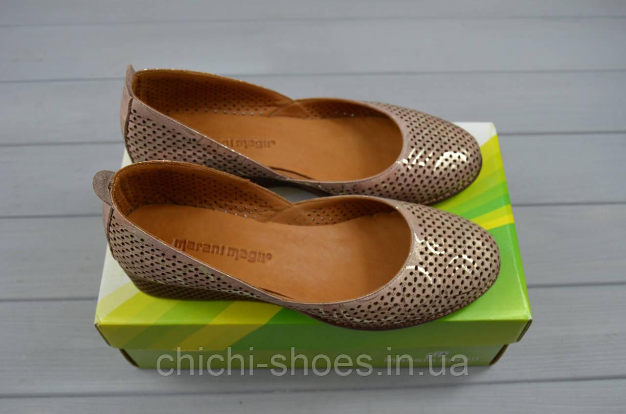 Туфли женские Marani Magli 078-197 коричневый сатин кожа танкетка размеры 37,39