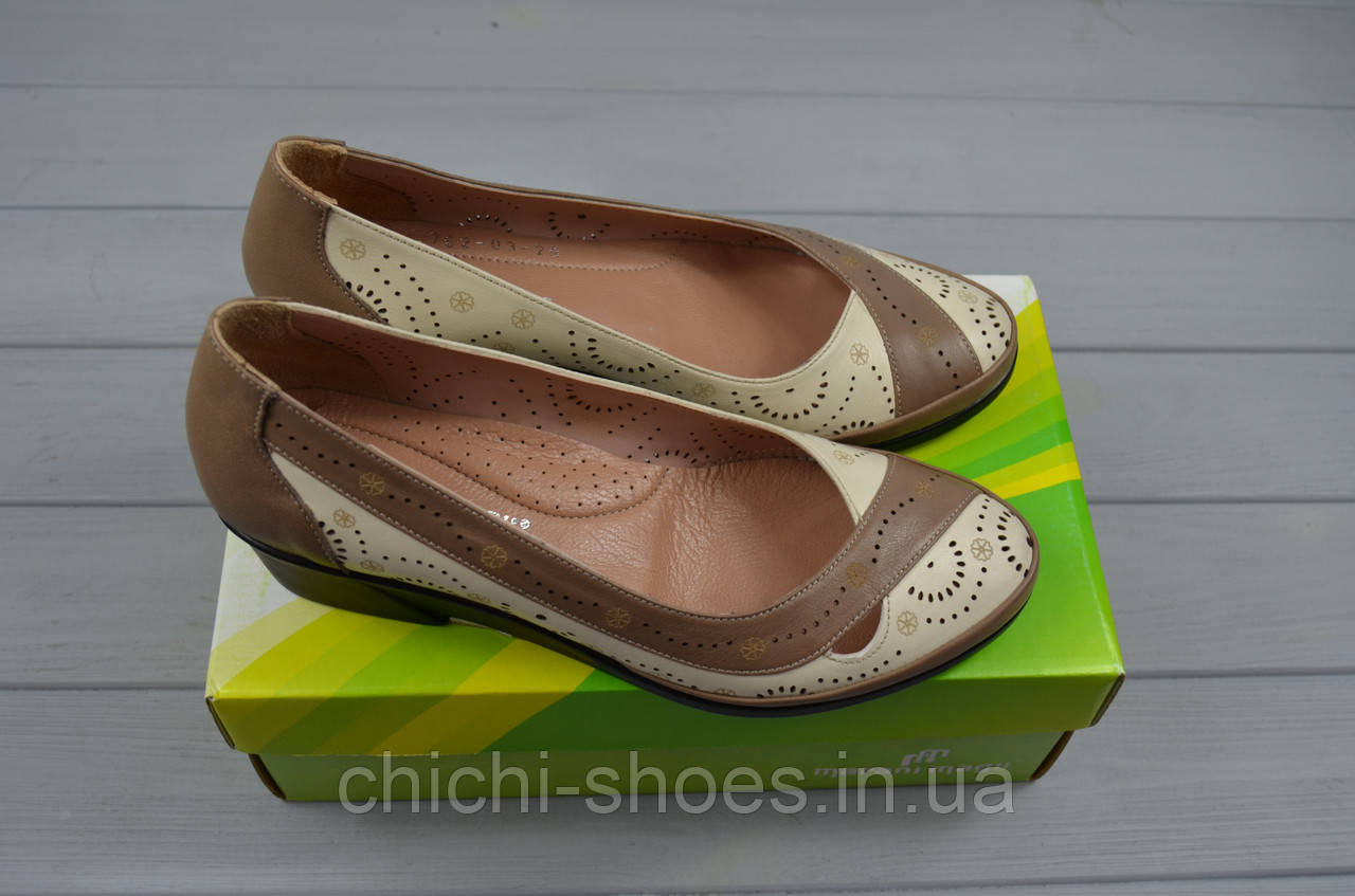 Туфли женские Marani Magli 762-16-78 бело-коричневые кожа танкетка размеры 36,37