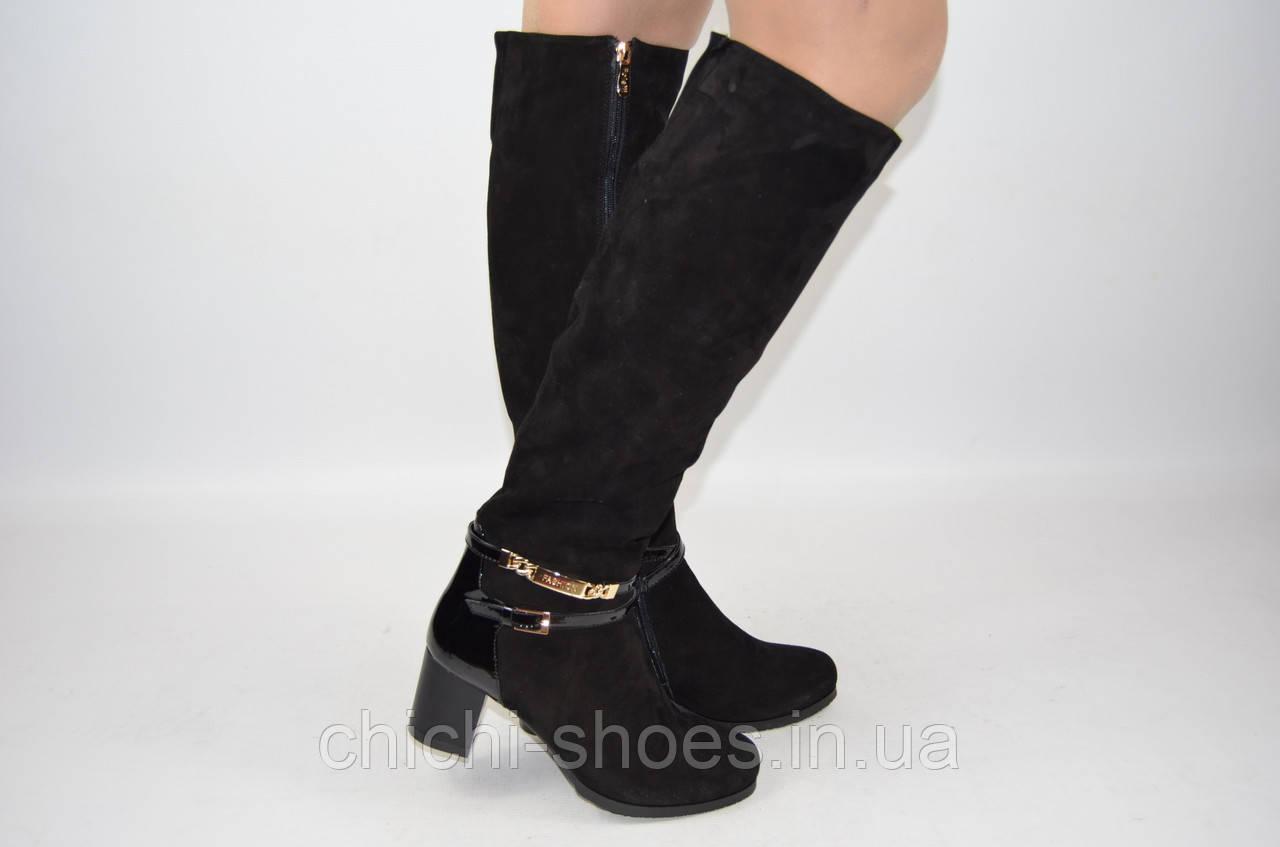Сапоги женские зимние Foletti 6032 чёрные замша каблук (последний 37 размер)