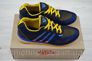 Кроссовки мужские Vitex 10106-5 сине-жёлтые текстиль