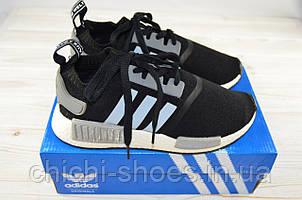 Кроссовки подростковые Adidas 12-16(реплика) чёрные текстиль