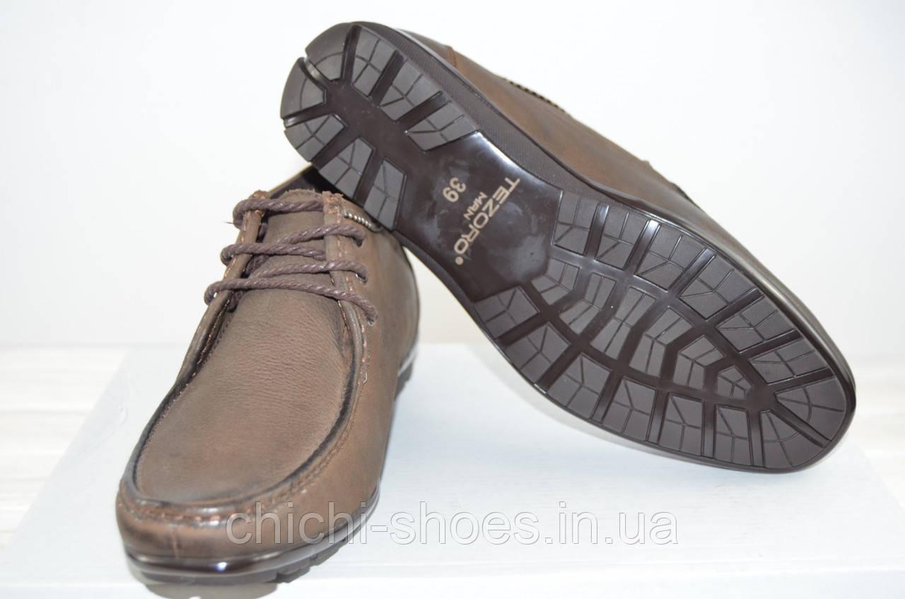 Ботинки мужские демисезонные Tezoro 13060 коричневые кожа (последний 39 размер)