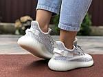 Женские кроссовки Yeezy Boost (светло-серые с белым) 9560, фото 3