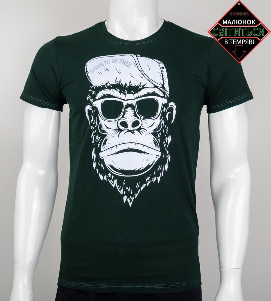Футболка чоловіча світиться в темряві Мавпа (2045м), Т. Зелений