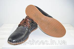 Туфли мужские подростковые Konors 621-3-7-19 чёрные кожа на шнурках