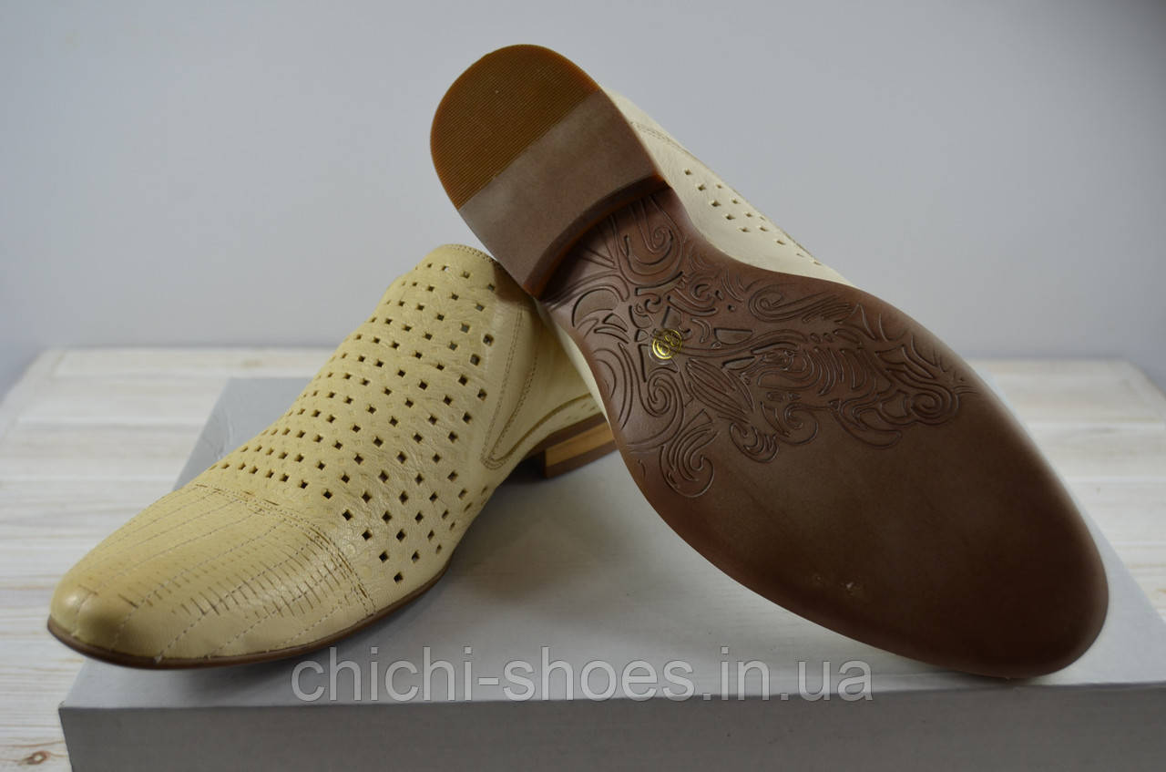 Туфли мужские VITTO ROSSI 801-021 белые кожа на резинках размеры 39,41