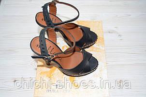 Босоножки женские Mallanee 1855 чёрные кожа каблук