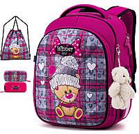 Ортопедический рюкзак (ранец) с пеналом и мешком розовый для девочки Winner one для 1 класса (Full-6013)