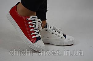 Кроссовки кеды подростковые унисекс Comfort-baby 6-31 бело-красные текстиль