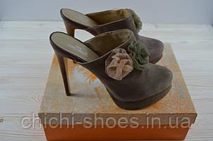 Босоножки-сабо женские Mallanee 501 бежевые замша каблук