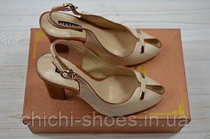 Босоножки женские Mativi 80-7 бежевые кожа каблук