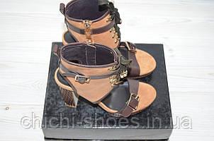 Босоножки женские ONDA VERDE 1018 коричневые кожа каблук