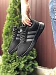 Чоловічі кросівки Adidas (чорно-салатові) 9561, фото 3