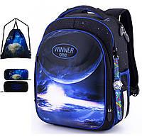 Школьный рюкзак (ранец) с ортопедической спинкой с пеналом и мешком черный для мальчика Winner One Космос для