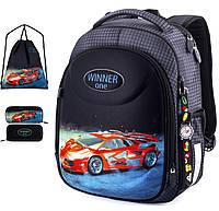 Школьный  рюкзак (ранец) с ортопедической спинкой  с мешком и пеналом темно-серый для мальчика Winner one для начальной школы (Full-6019)