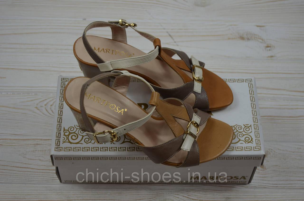 Босоножки женские Mariposa 11249 коричневые кожа каблук