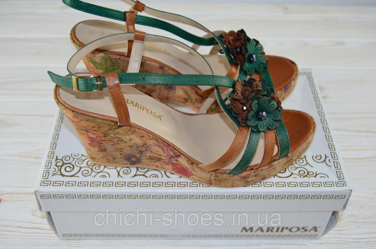 Босоножки женские Mariposa 2406-1180 зелёно-коричневые кожа на танкетке