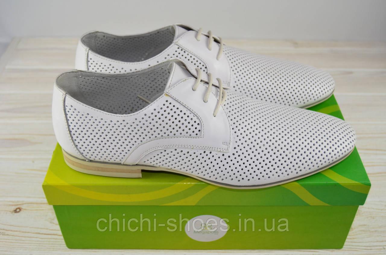 Туфли мужские Megapolis 12189 белые кожа на шнурках