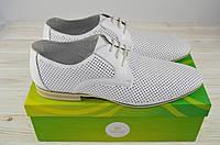 Туфли мужские Megapolis 12189 белые кожа на шнурках, фото 1
