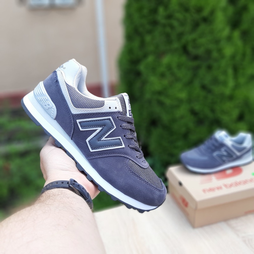 Чоловічі замшеві кросівки New Balance 574 (темно-сірі) 10204